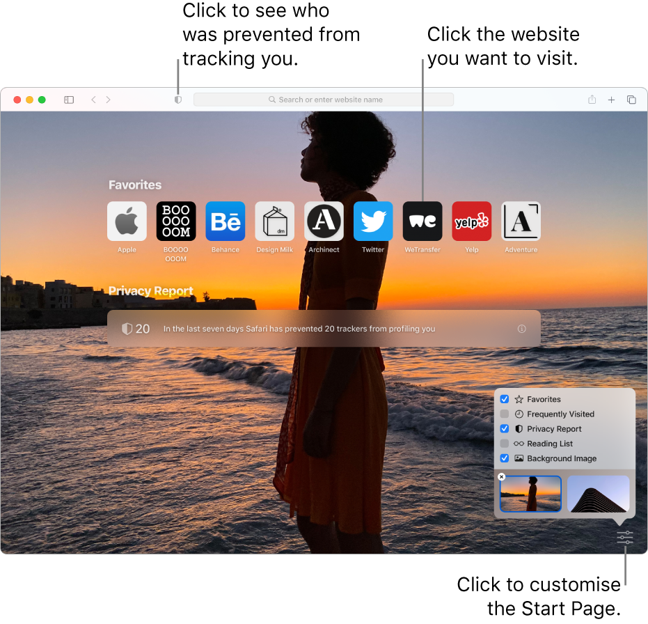 The Safari start page, showing favourite websites, a Privacy Report summary, Reading List articles and start page options.