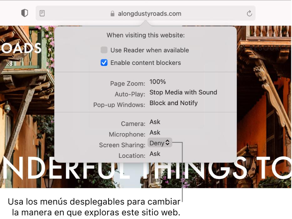 El diálogo que aparece por debajo del campo de búsqueda inteligente cuando seleccionas Safari > Preferencias para este sitio web. El cuadro de diálogo contiene opciones para personalizar cómo navegas en el sitio web actual, incluyendo el uso de la vista de lector, habilitar bloqueadores de contenido, etc.