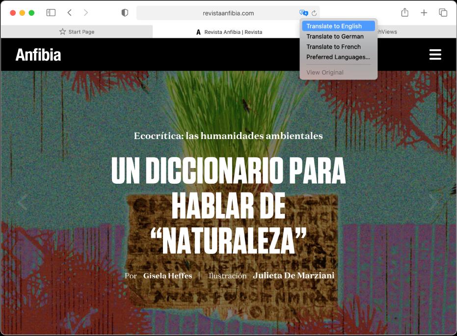 Una página web en español. El campo de búsqueda inteligente incluye el botón Traducir y muestra una lista de idiomas disponibles.