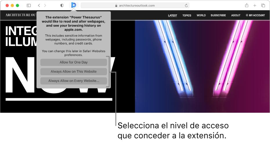 Una página web que muestra un icono de extensión en la barra de herramientas de Safari y las opciones para restringir el acceso a la extensión.