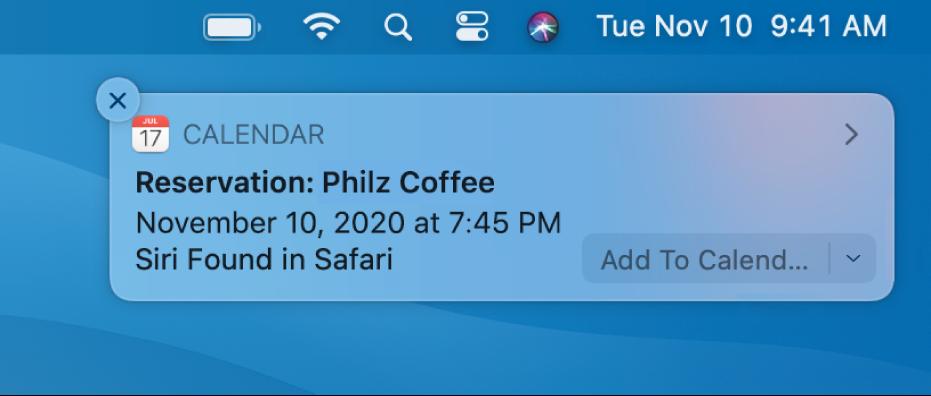Una sugerencia de Siri para añadir un evento de Safari a Calendario.