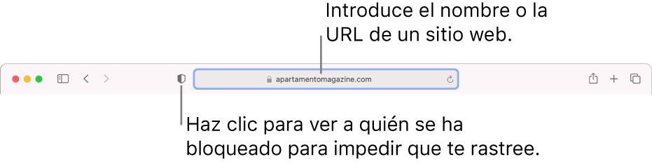 """Barra de herramientas de Safari con el botón """"Informe de privacidad"""" y un sitio web en el campo de búsqueda inteligente."""