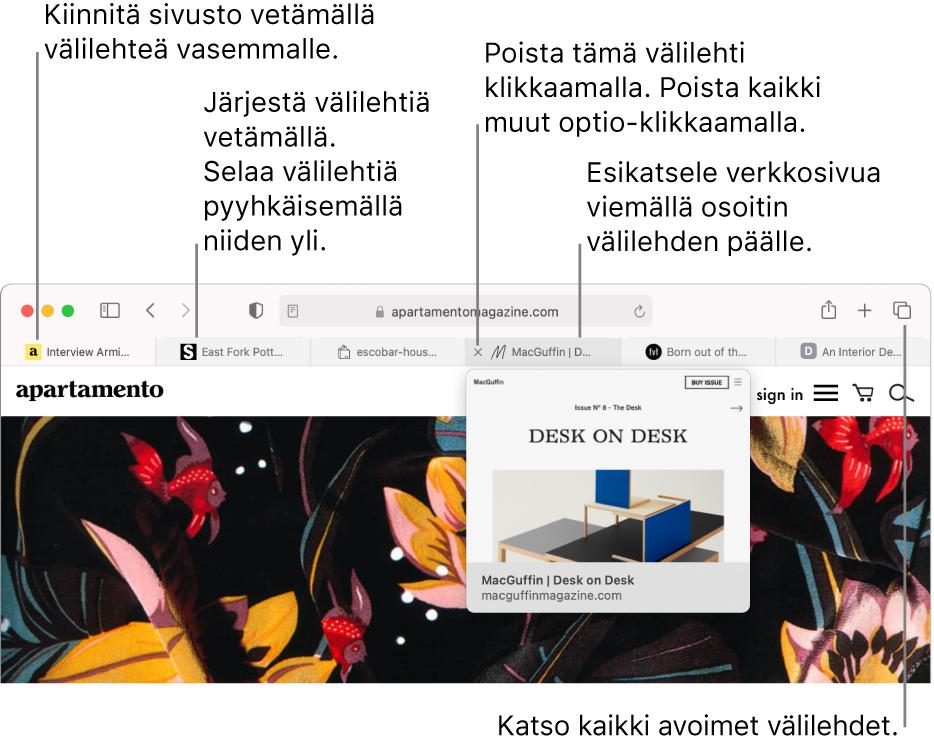 Safari-ikkuna, jossa on avattuna useita välilehtiä ja osoitin on välilehden päällä siten, että verkkosivun esikatselu näkyy.