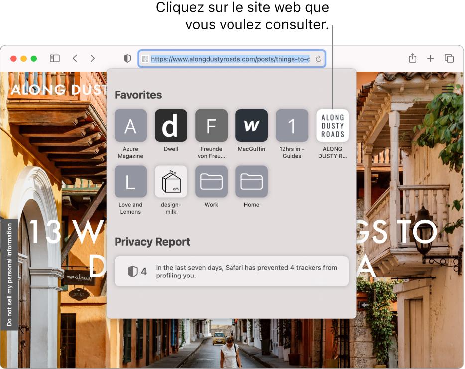 Le champ de recherche intelligente de Safari; en dessous se trouve la page de démarrage affichant les favoris et le résumé d'un rapport de confidentialité.