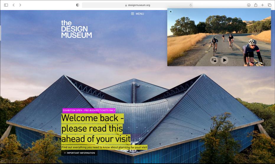 Fenêtre Image dans l'image flottant au-dessus d'un autre site web.