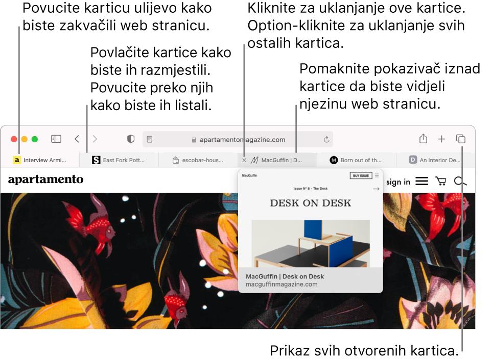Prozor preglednika Safari s nekoliko otvorenih kartica, s pokazivačem preko kartice koji prikazuje pretpregled web stranice.