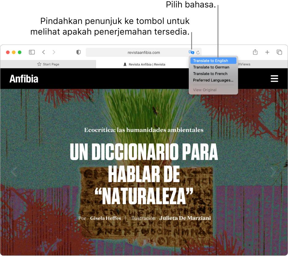 Halaman web berbahasa Spanyol. Bidang Pencarian Cerdas menyertakan tombol Terjemahkan dan menampilkan daftar bahasa yang tersedia.