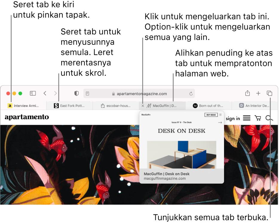 Tetingkap Safari dengan beberapa tab dibuka, dengan penuding di atas tab menunjukkan pratonton halaman web.