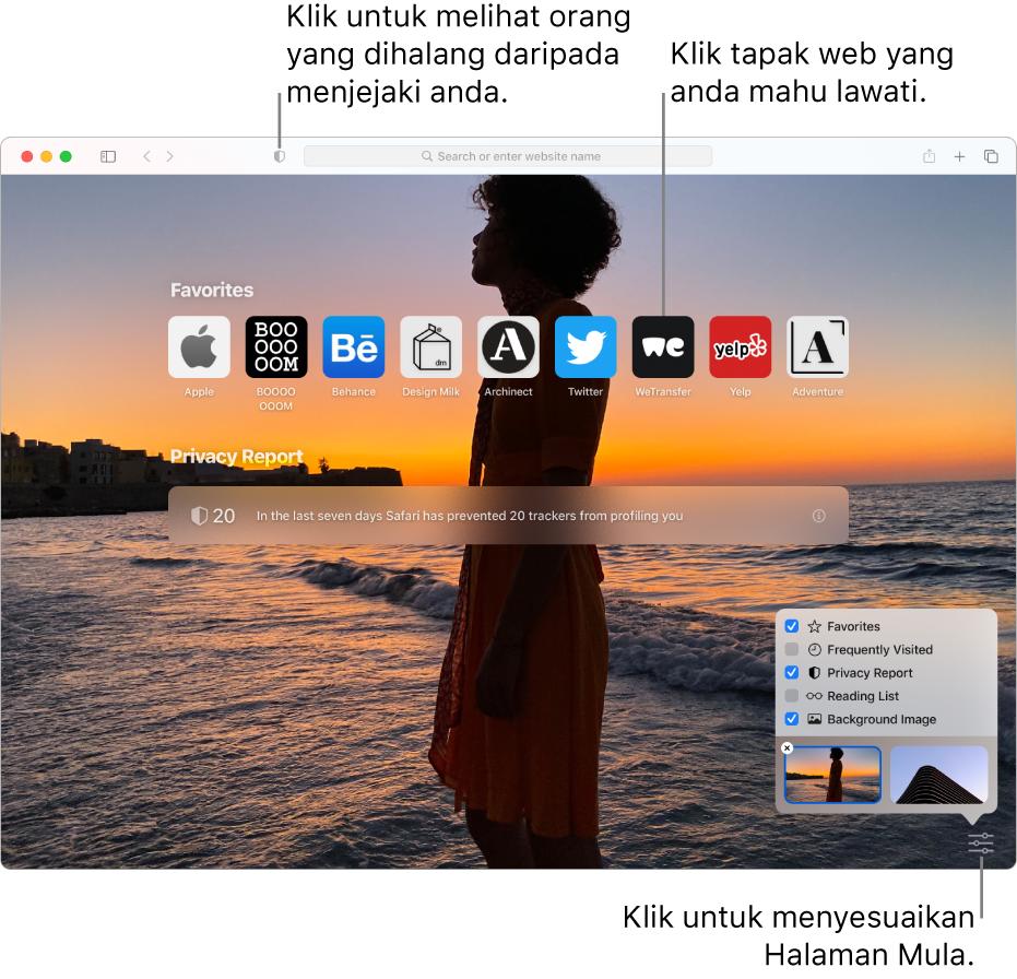 Halaman mula Safari, menunjukkan tapak web kegemaran, ringkasan Laporan Privasi, artikel Senarai Bacaan dan pilihan halaman mula.