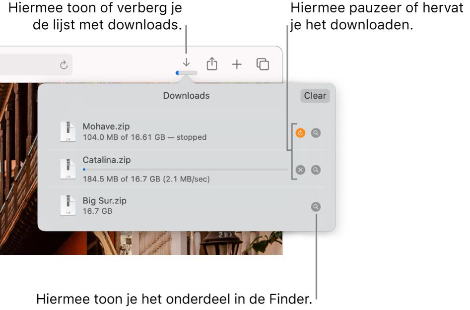 De knop 'Downloads' in de knoppenbalk, met daaronder de lijst met downloads.
