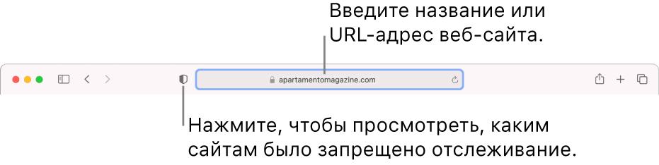 Впанели инструментов Safari показана кнопка отчета оконфиденциальности ивеб-сайт вполе смарт-поиска.