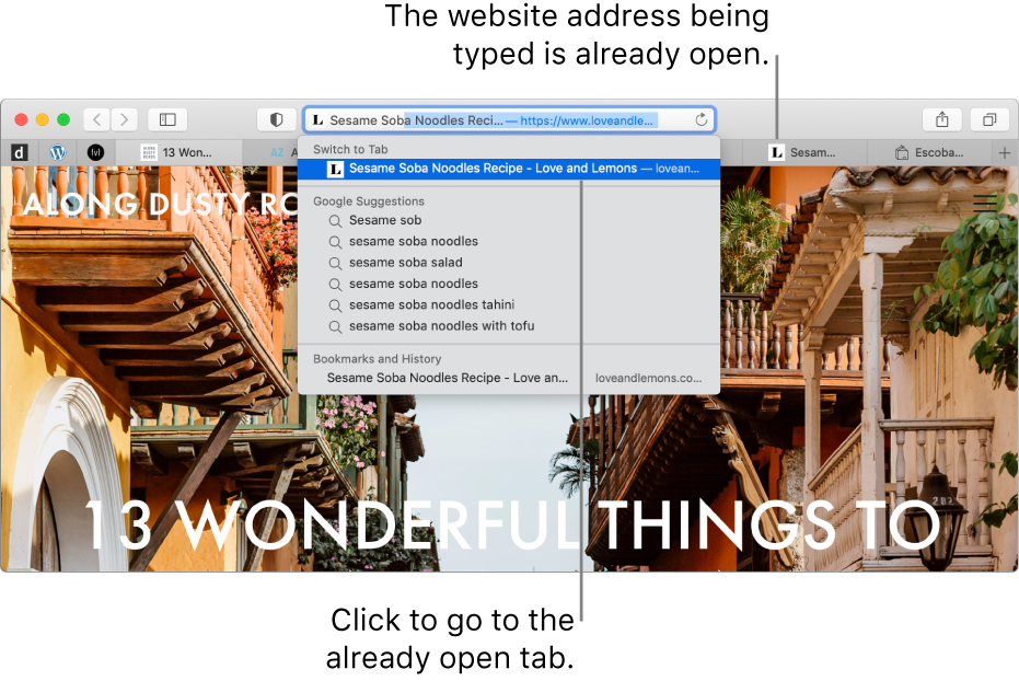 A Safari window with the first part of a website address entered in the Smart Search field. The same website appears in the results list under Switch to Tab, because it's already open in another tab.