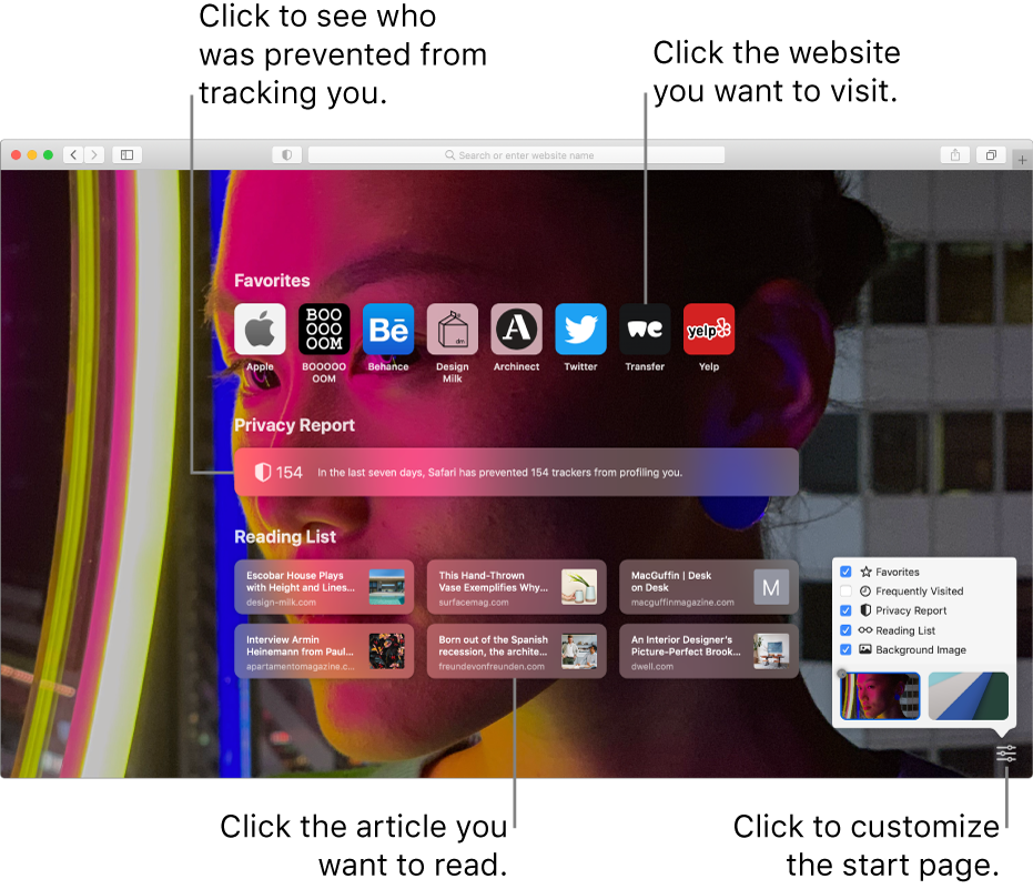 The Safari start page, showing favorite websites, a Privacy Report summary, Reading List articles, and start page options.