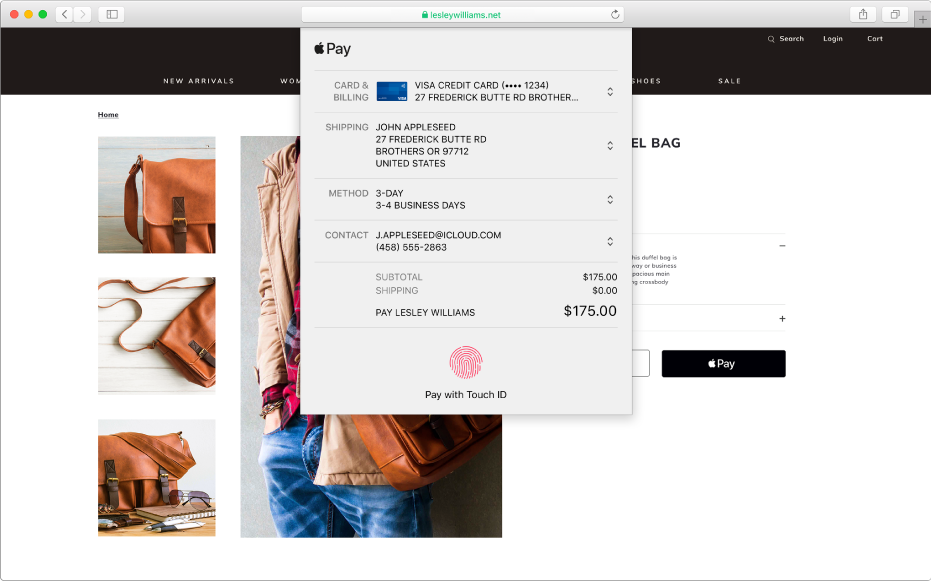 Un conocido sitio de compras que permite ApplePay y los detalles de tu compra, incluida la información de la tarjeta de crédito en la que se realizó el cargo, la información de envío, la información de la tienda y el precio de compra.