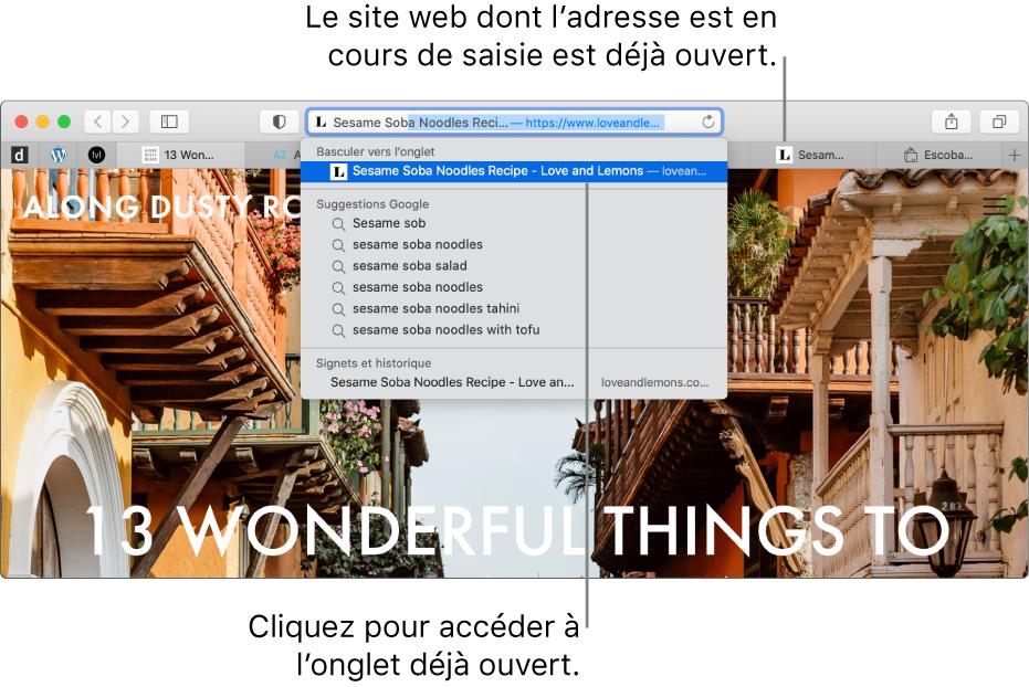 Une fenêtre Safari avec la première partie de l'adresse d'un site web saisie dans le champ de recherche intelligente. Ce site web apparaît dans la liste des résultats sous «Basculer vers l'onglet» car il est déjà ouvert dans un nouvel onglet.