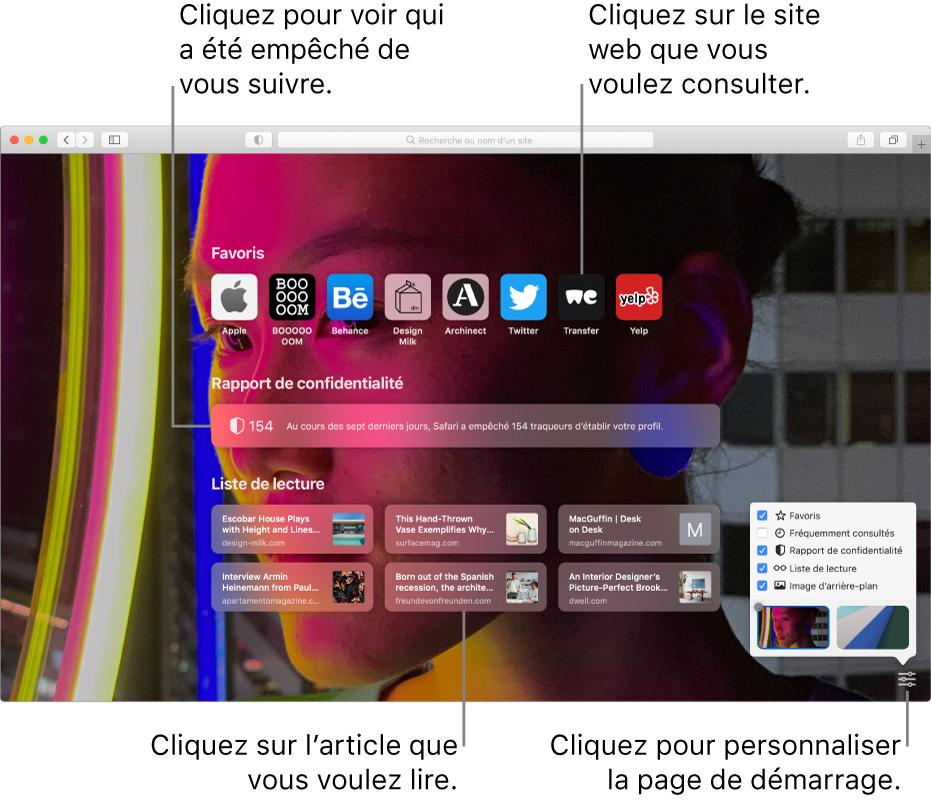 La page de démarrage de Safari affichant les sitesweb favoris, le résumé d'un rapport de confidentialité, les articles de la liste de lecture et les options de la page de démarrage.