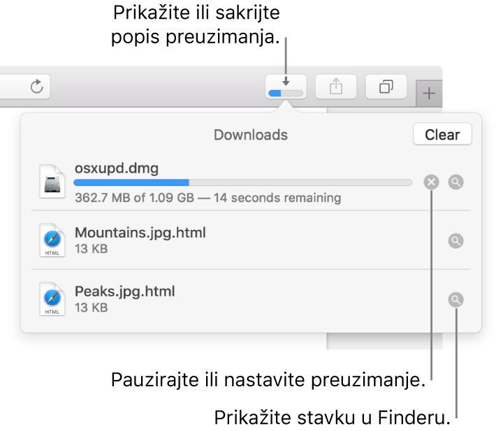 Tipka Preuzimanja u alatnoj traci, s popisom preuzetih stavki ispod tipke.