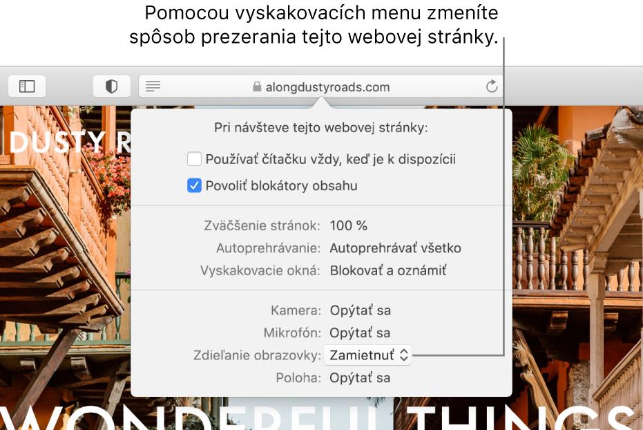Dialógové okno, ktoré sa zobrazí pod poľom dynamického vyhľadávania, keď vyberiete Safari > Nastavenia pre túto webovú stránku. Dialógové okno obsahuje možnosti na úpravu prezerania aktuálnej webovej stránky, vrátane používania zobrazenia čítačky, povolenia blokátorov obsahu a iných.
