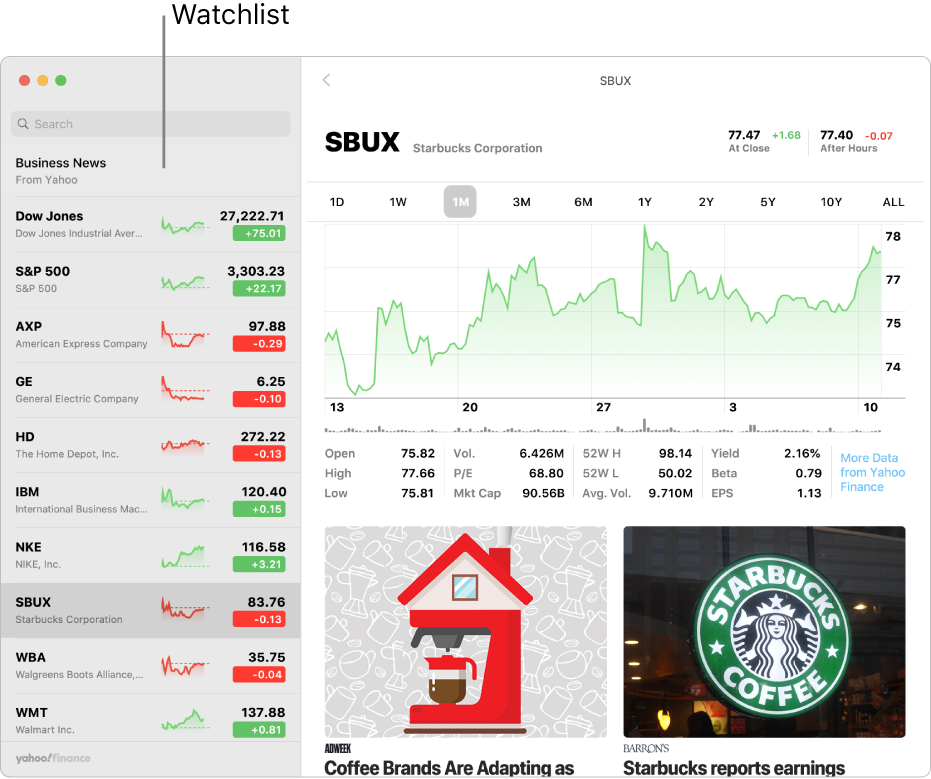 A Stocks window showing the watchlist on the left with a ticker symbol selected and information about the selected symbol on the right.