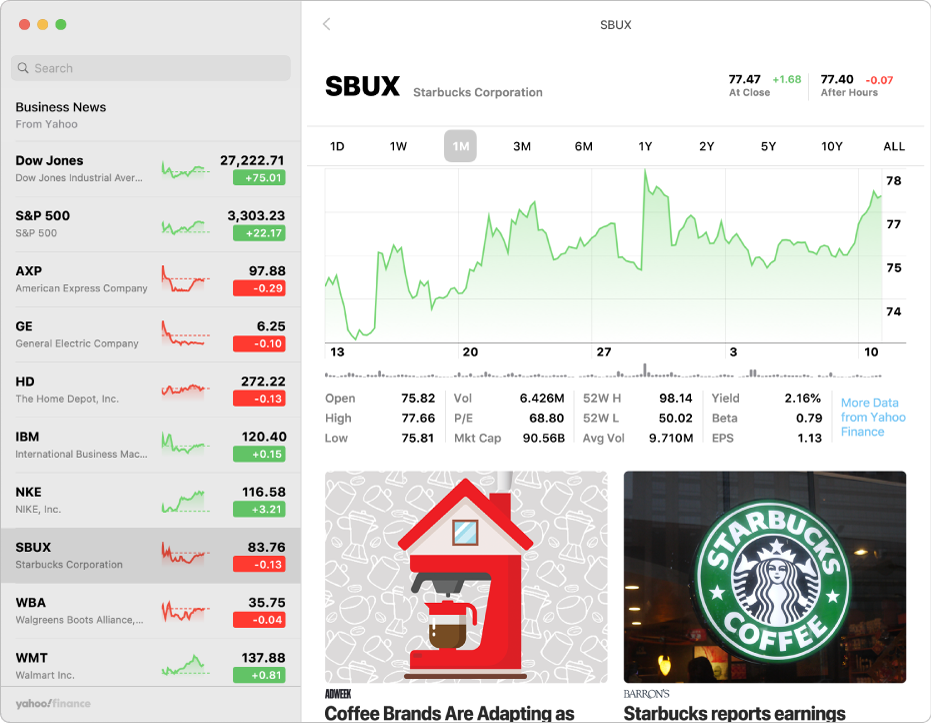 A Stocks window showing the watchlist on the left, a chart in the upper right and news headlines in the lower right.