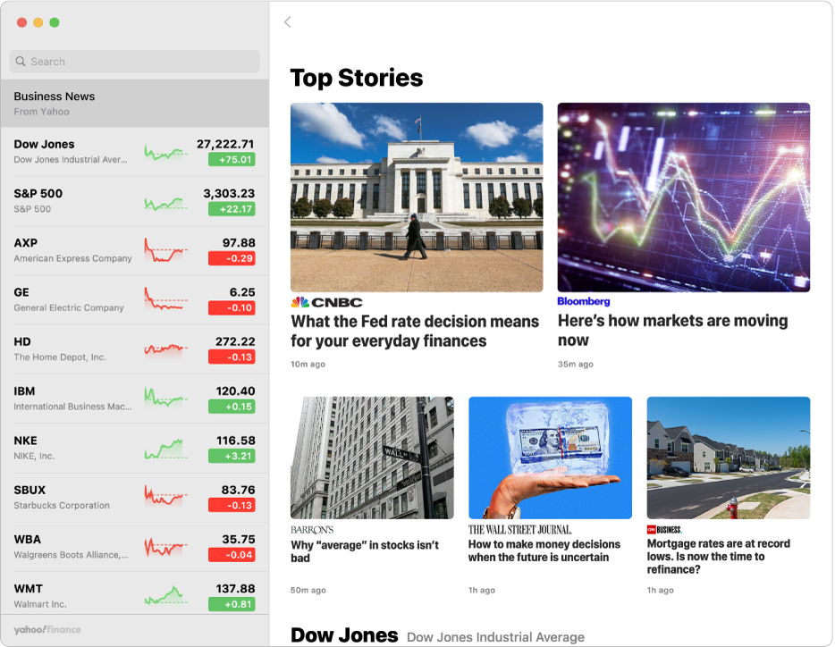 A Stocks window showing a news article.