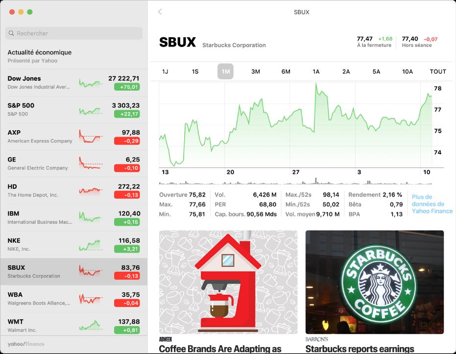 Fenêtre Bourse affichant la liste de suivi sur la gauche avec un symbole d'action sélectionné, et le graphique et le flux d'actualité correspondant dans la sous-fenêtre de droite.