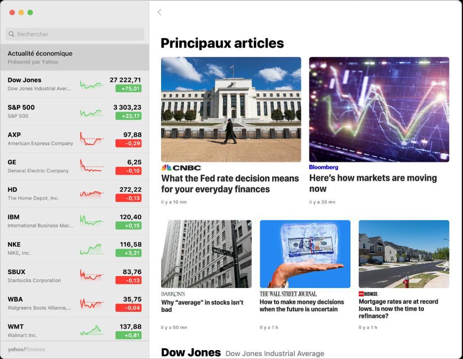 Fenêtre Bourse affichant un article de presse.