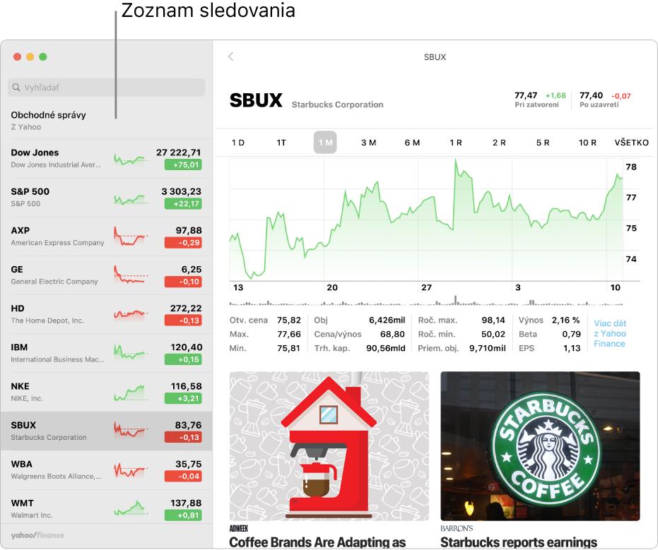 Okno apky Akcie, ktoré zobrazuje zoznam sledovaných akcií na ľavej strane svybraným symbolom tickera, ainformácie ovybranom symbole sa nachádzajú na pravej strane.