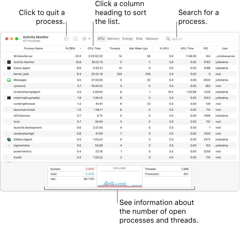 Activity Monitor window showing CPU activity. To quit a process, click the Force Quit button in the upper left. To sort data by a column, click the column heading. To search for a process, enter its name in the search field. At the bottom of the window, see information about the number of open processes and threads.