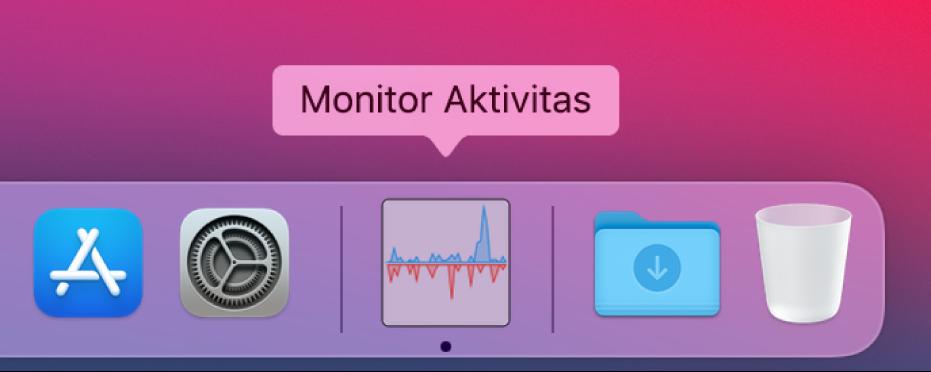 Ikon Monitor Aktivitas di Dock menampilkan aktivitas disk.
