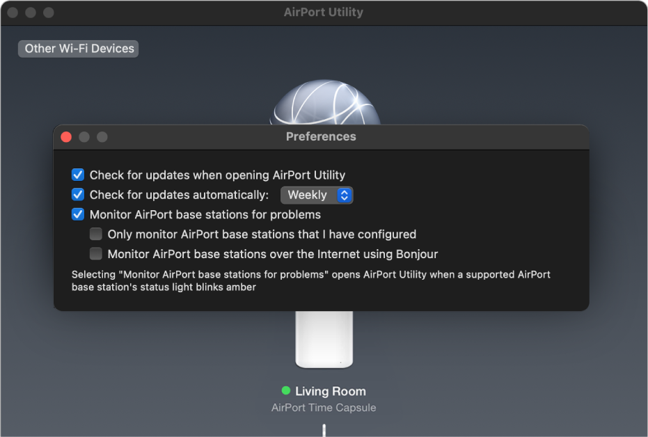 "AirPort Utility preferences, showing the ""Check for updates when opening AirPort Utility,"" ""Check for updates automatically,"" and ""Monitor AirPort base stations for problems"" checkboxes."