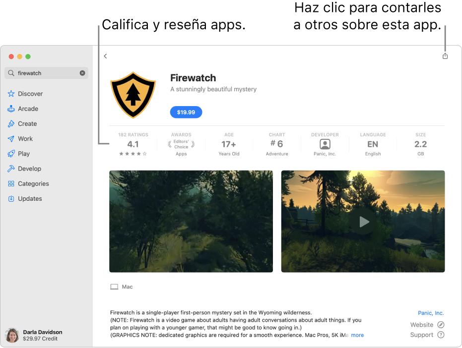 Calificaciones de clientes de una app en AppStore.