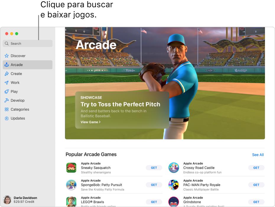 Página principal do Apple Arcade. Um jogo popular é mostrado no painel à direita, com outros jogos disponíveis mostrados abaixo.