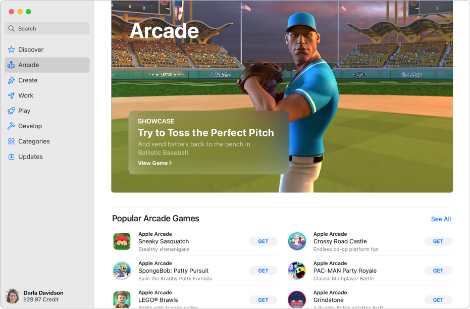 Huvudsidan för Apple Arcade. Ett populärt spel visas på panelen till höger och andra tillgängliga spel visas nedanför.