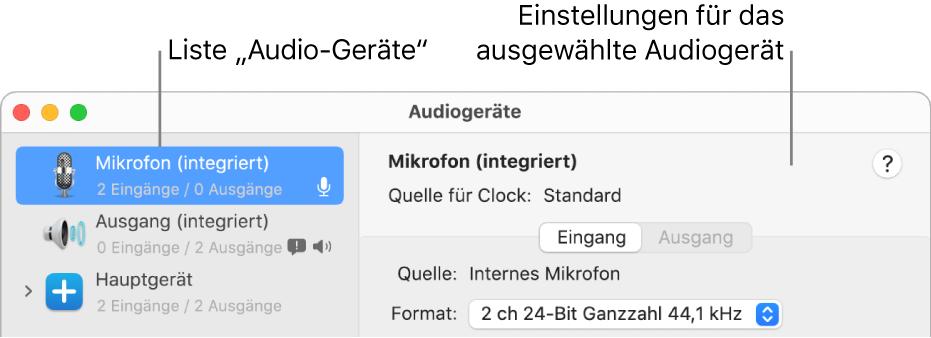 "Fenster ""Audiogeräte"""