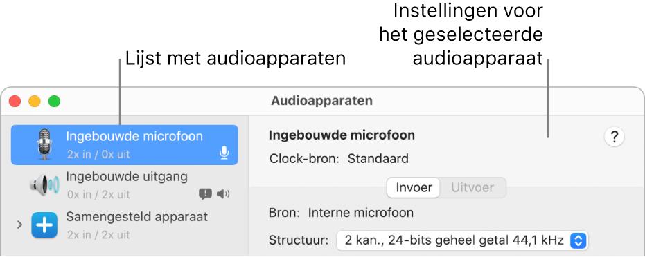 Het venster 'Audioapparaten'.