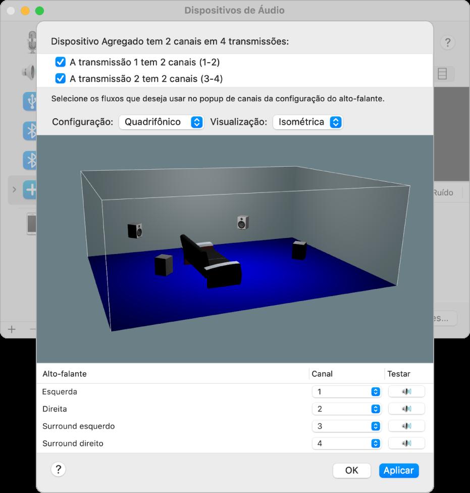 A janela Dispositivos de Áudio mostrando um dispositivo agregado na Visualização Isométrica Quadrifônica. Na lista de fluxos na parte superior da janela, um fluxo com quatro canais está selecionado. A visualização 3D mostra os quatro alto-falantes posicionados no cômodo.