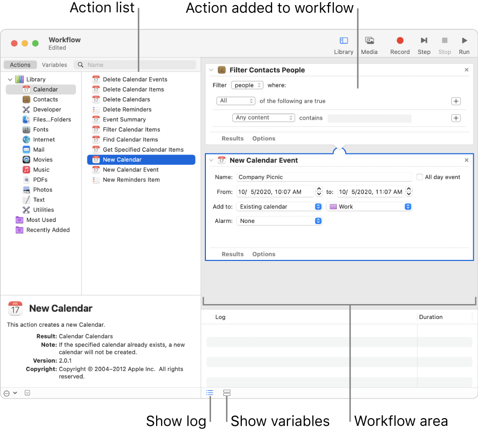 The Automator window. The Library appears at the far left and contains a list of apps that Automator provides actions for. The Calendar app is selected in the list and actions available in Calendar are listed in the column to the right. On the right side of the window is a workflow that has a Calendar action added to it.