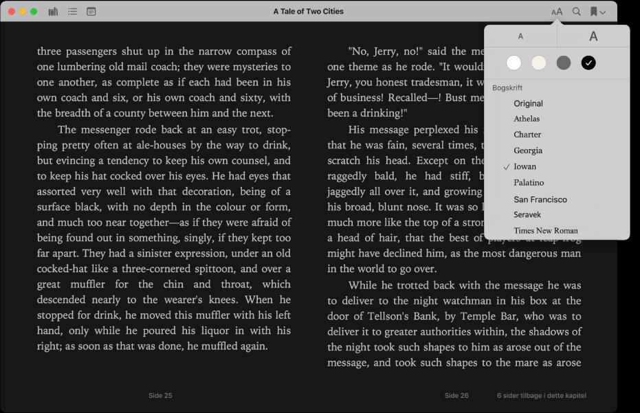 En bog med et tilpasset udseende og menuen Udseende, der viser den valgte tekststørrelse, baggrundsfarve og skrift.