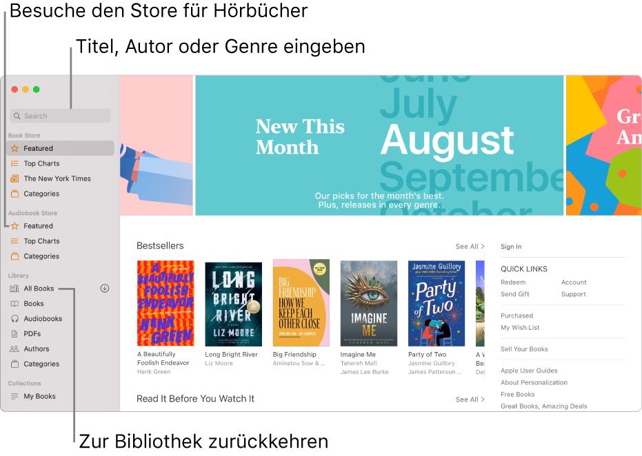 """Die Seitenleiste in der App """"Bücher"""". Zum Durchsuchen des Book Store klicke auf eines der Objekte unter Book Store. Zum Durchsuchen des Hörbücher-Stores klicke auf eines der Objekte unter Hörbücher. Gib zum Suchen einen Titel, einen Autor oder ein Genre in das Suchfeld ein. Gehe zurück zur Bibliothek und klicke auf """"Alle Bücher""""."""