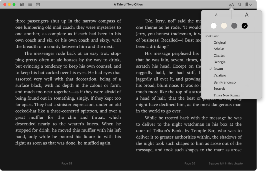 A book with a customized appearance and the Appearance menu showing the selected text size, background color, and font.