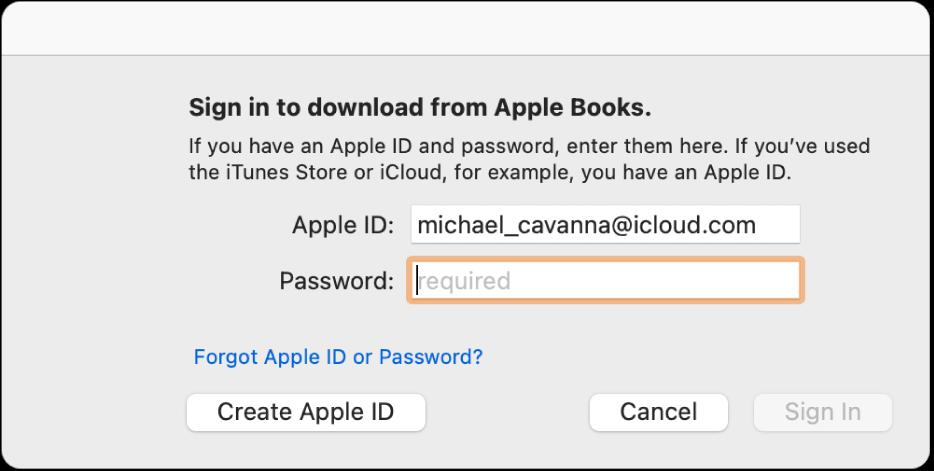 El cuadro de diálogo para iniciar sesión usando un AppleID y contraseña.
