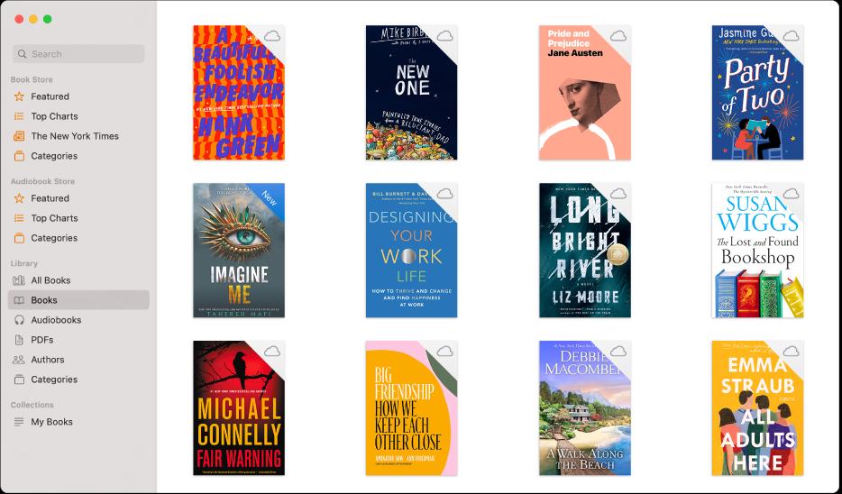 Una raccolta di libri e audiolibri nella libreria.