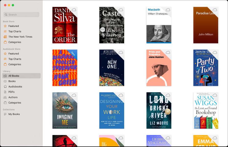 """La collezione """"Tutti i libri"""" nella libreria."""