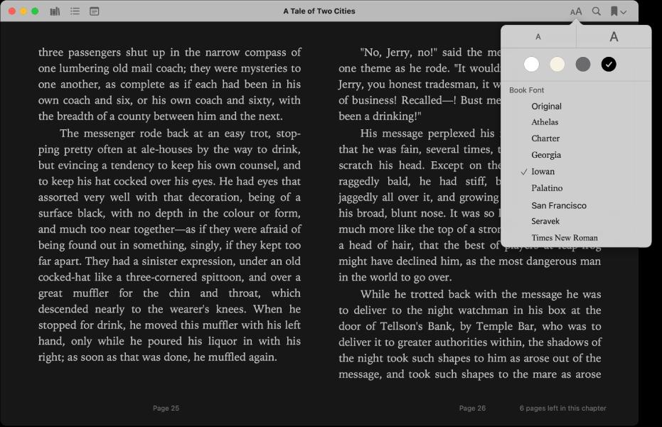 Um livro com a aparência personalizada e o menu Aparência mostrando o tamanho do texto, a cor de fundo e a fonte selecionados.