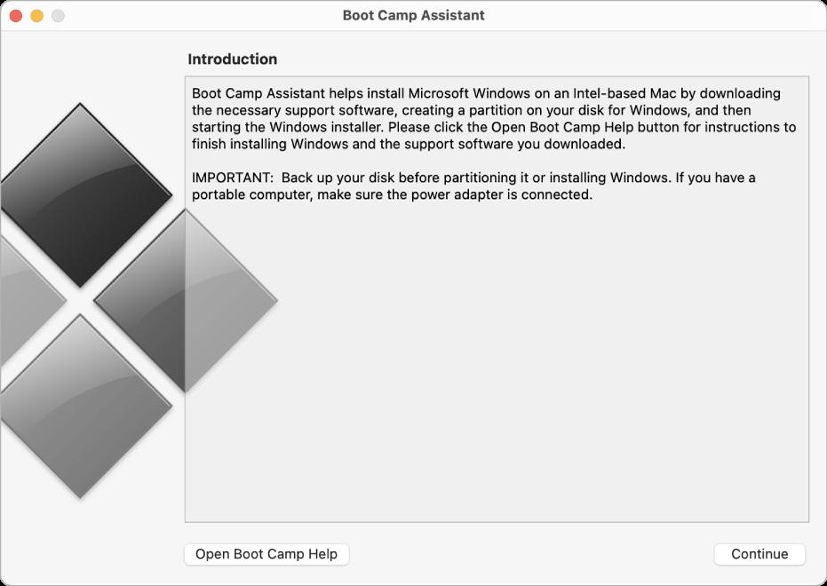 Painel de introdução do Boot Camp, mostrando um botão que pode ser clicado para se obter ajuda e um botão para continuar a instalação.