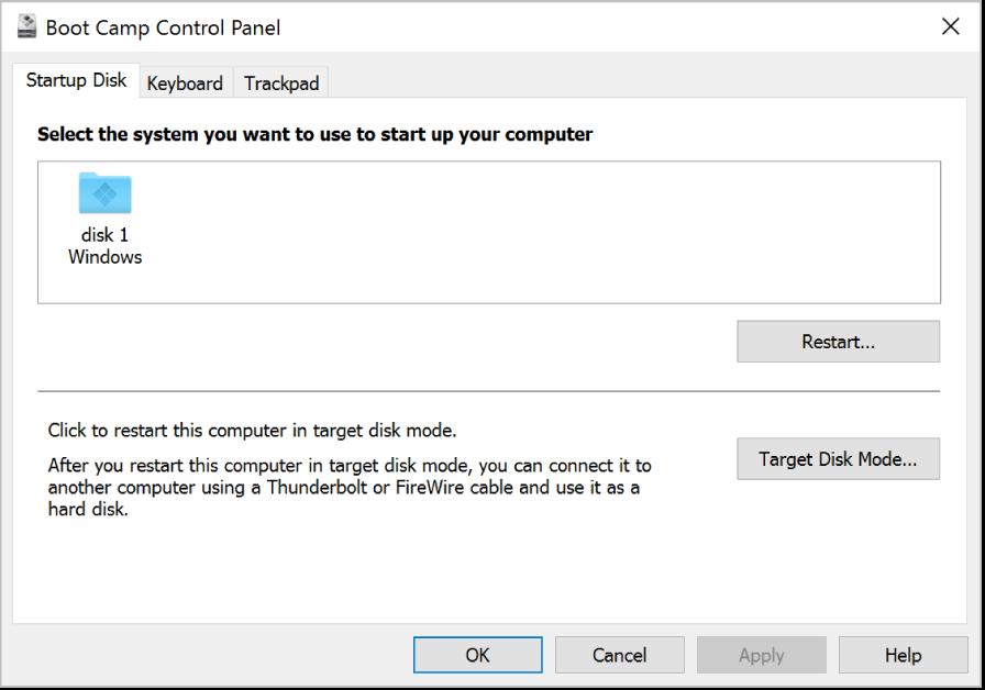 El panel de control de BootCamp con el panel de selección del disco de arranque, que también incluye opciones para reiniciar el ordenador o usar el ordenador en la modalidad de disco de destino.