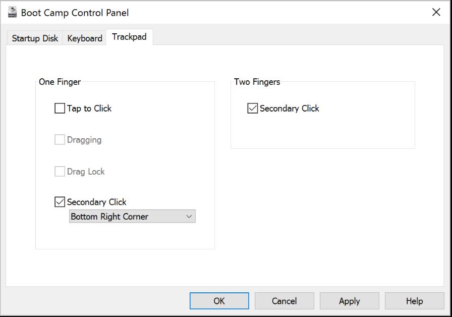 Le panneau de configuration BootCamp affichant le volet d'options Trackpad permettant de sélectionner les gestes à un et deuxdoigts à utiliser, tels que Toucher pour cliquer et l'emplacement du clic secondaire sur le trackpad.