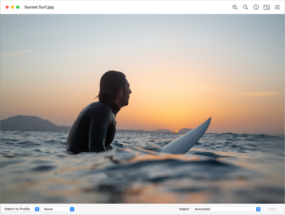 The ColorSync Utility window showing an image of a man in ocean or bay water sitting on a surfboard.