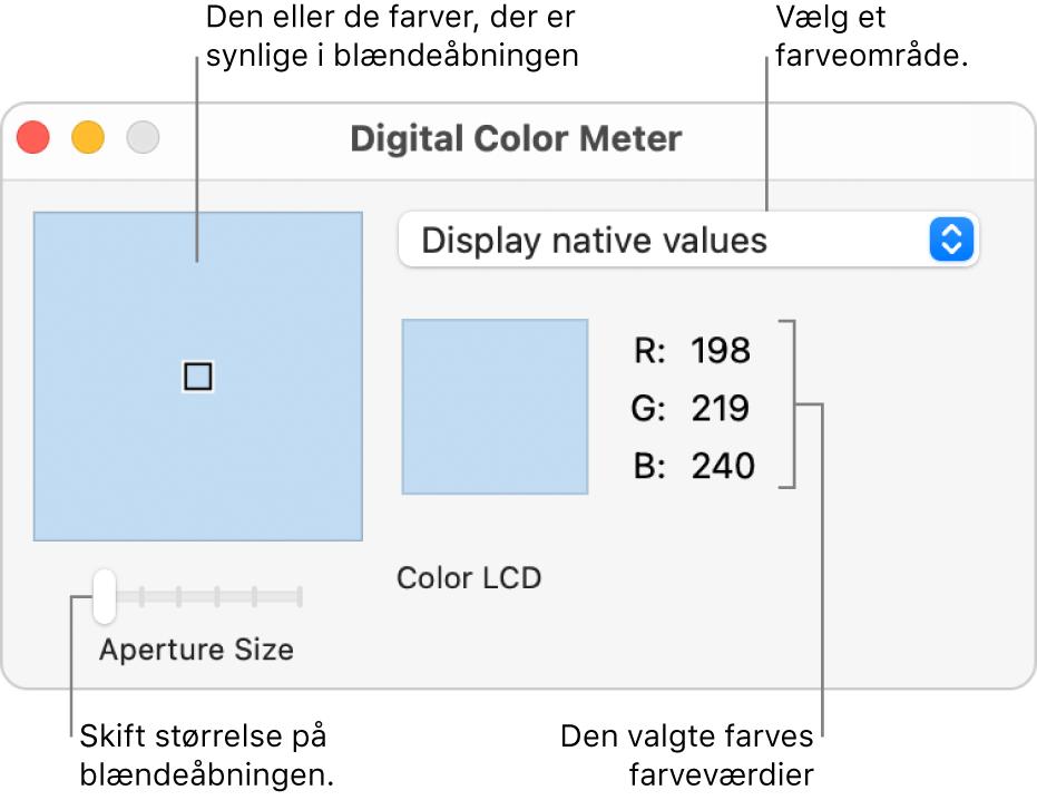 Vinduet Digital farvemåler, der viser den valgte farve i blændeåbningen til venstre, lokalmenuen farveområde, farveværdierne og mærket Blændestørrelse.